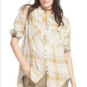 Free People Faded Plaid Double Cloth Shirt.